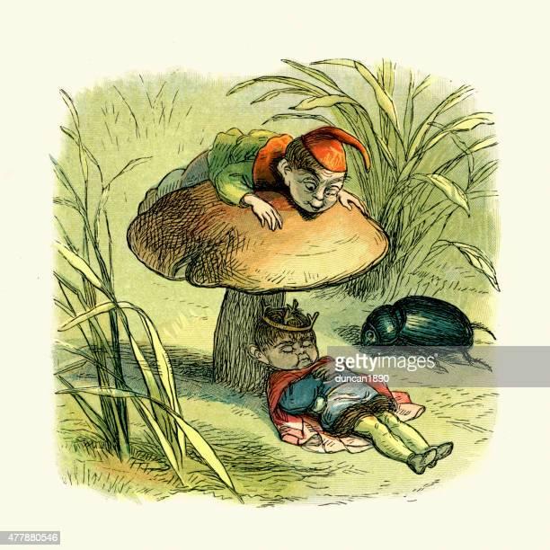fairy king asleep under a toadstool - teasing stock illustrations, clip art, cartoons, & icons