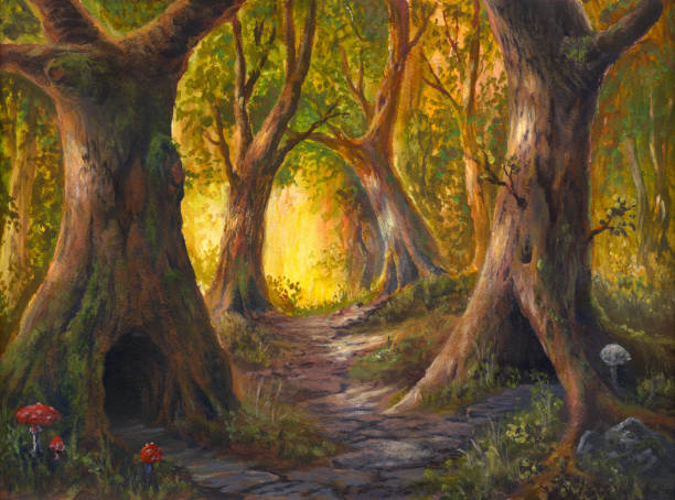 fairy tale forest, abode of fairy-tale creatures, acrylic painting on watercolor paper - fantasy stock illustrations