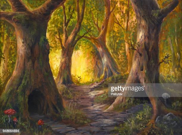 おとぎ話の森林、アクリル絵の具水彩紙のおとぎ話の生き物のすみか - 幻想点のイラスト素材/クリップアート素材/マンガ素材/アイコン素材