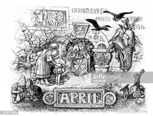 fairy tale scene in april - 1896 - bas relief stock illustrations