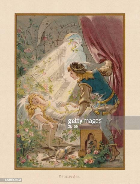 """illustrazioni stock, clip art, cartoni animati e icone di tendenza di fairy tale """"sleeping beauty"""", chromollithograph, published in 1898 - principe persona nobile"""