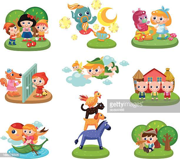ilustrações de stock, clip art, desenhos animados e ícones de contos de fadas - chapeuzinho vermelho