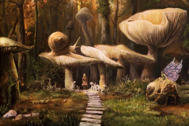 fairyland, oil painting - fantasy stock illustrations