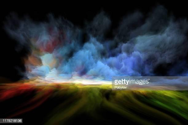fairytale landscape in oil painting - dreamlike stock illustrations