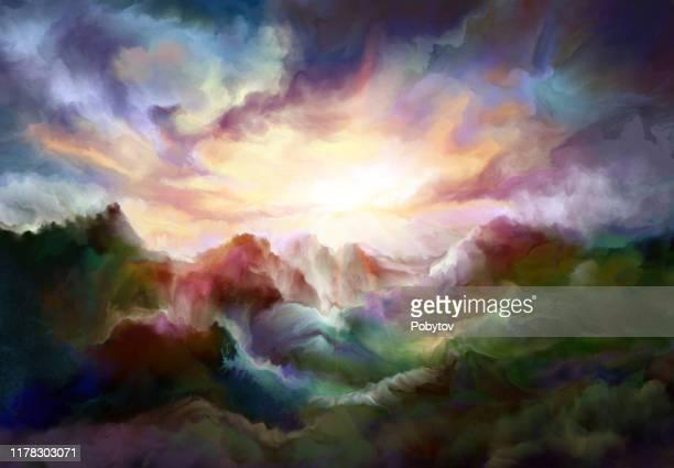 märchen-berglandschaft in der ölmalerei - acrylmalerei stock-grafiken, -clipart, -cartoons und -symbole