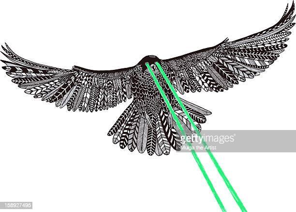 ilustrações de stock, clip art, desenhos animados e ícones de a falcon with laser beams for eyes - falcon bird