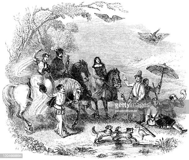 falconer and entourage hunting in rural england - 16th century - falconry stock illustrations