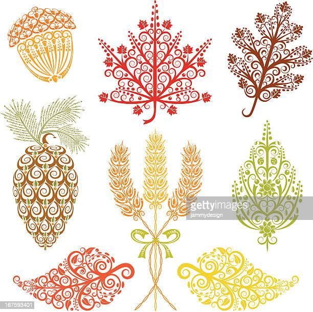 fall foliage - pine cone stock illustrations, clip art, cartoons, & icons