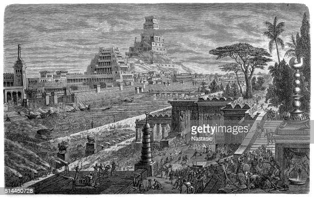 fall of babylon by cyrus ii, 539 bc - ancient stock illustrations