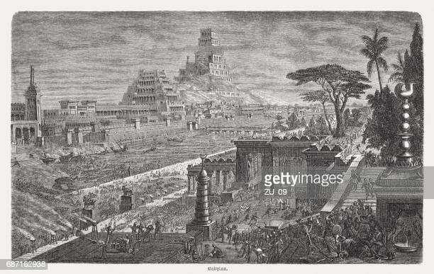 fall of babylon by cyrus ii, 539 bc, published 1880 - ancient babylon stock illustrations