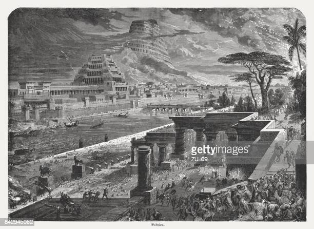 fall of babylon by cyrus ii, 539 bc, published 1886 - iranian culture stock illustrations, clip art, cartoons, & icons