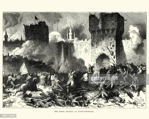 fall of constantinople to the the ottoman empire - byzantine stock illustrations