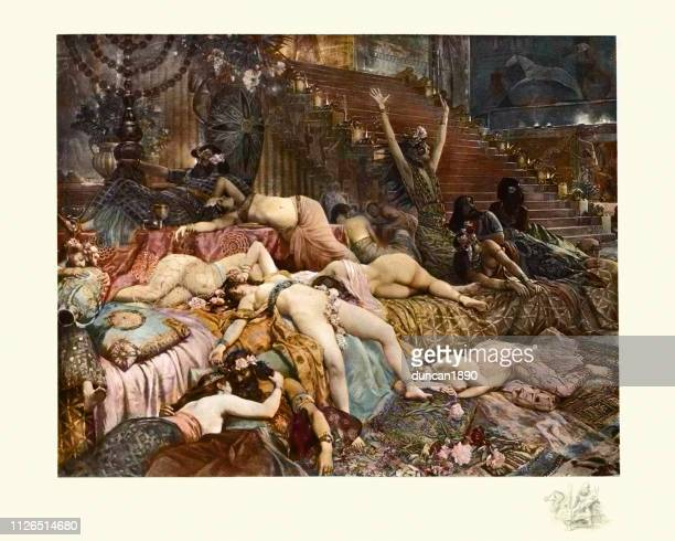 ilustraciones, imágenes clip art, dibujos animados e iconos de stock de caída de babilonia de georges antoine rochegrosse - masturbacion