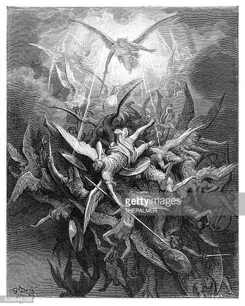fall of the rebel angels of engraving - heaven stock illustrations