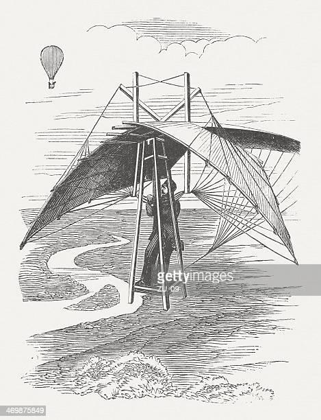 illustrations, cliparts, dessins animés et icônes de ornithopter, 1864 - catastrophe aérienne