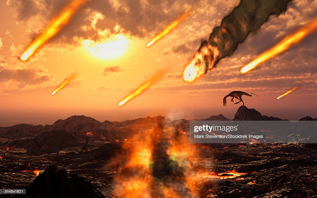 A falling asteroid and meteorites mark the end of the dinosaurs rule of the Earth. : Ilustración de stock
