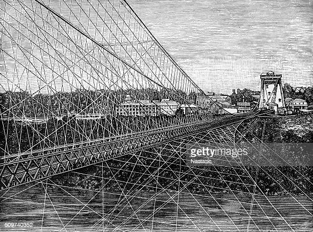 fallsview upper suspension bridge, from niagara falls, ny - niagara river stock illustrations