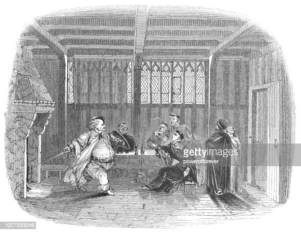 falstaff and prince hal at the boar's head tavern - works of william shakespeare - henry v of england stock illustrations, clip art, cartoons, & icons