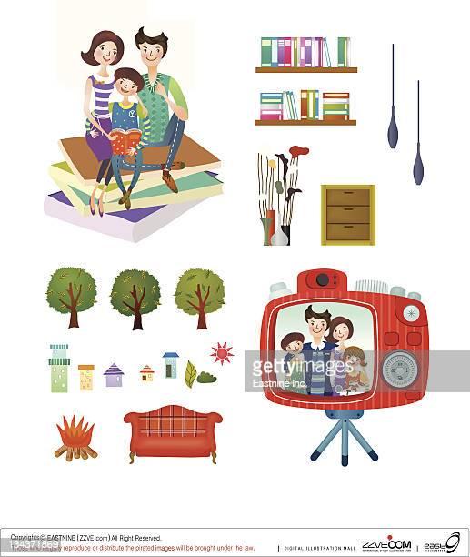 ilustraciones, imágenes clip art, dibujos animados e iconos de stock de family and home interior set - mujeres de mediana edad