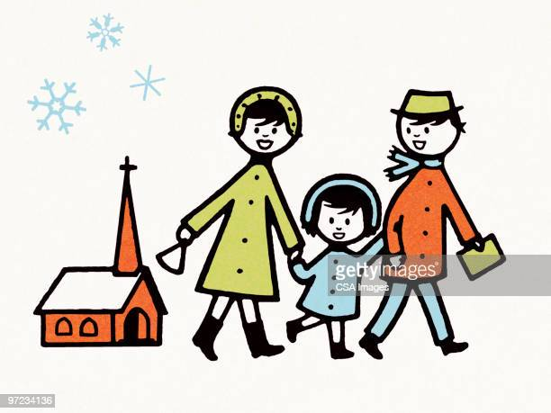 illustrations, cliparts, dessins animés et icônes de family at church in winter - famille avec un enfant