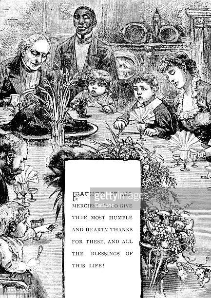 Family at Thanksgiving Table - Victorian Illustration