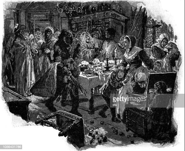 family at the christmas table gets a visit from santa claus - christmas past and christmas present stock illustrations