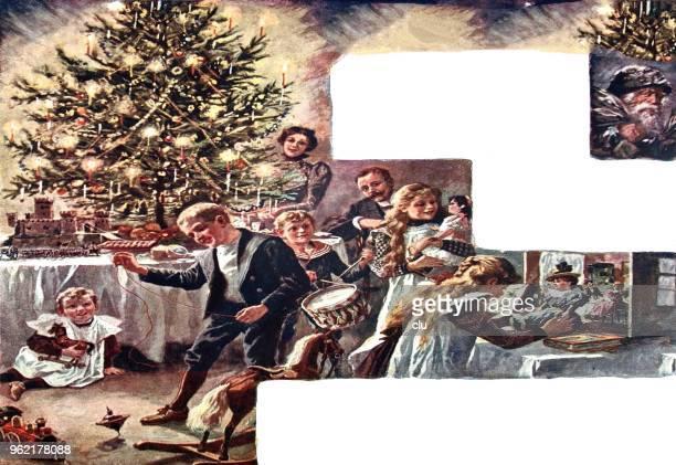 family at the christmas tree - christmas past and christmas present stock illustrations