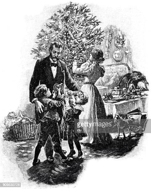family at the christmas tree unpacking gifts - christmas past and christmas present stock illustrations