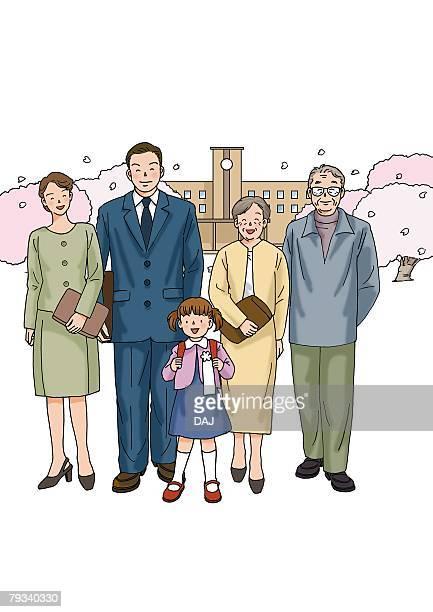 ilustraciones, imágenes clip art, dibujos animados e iconos de stock de family at the entrance ceremony, illustration, front view - mujeres de mediana edad