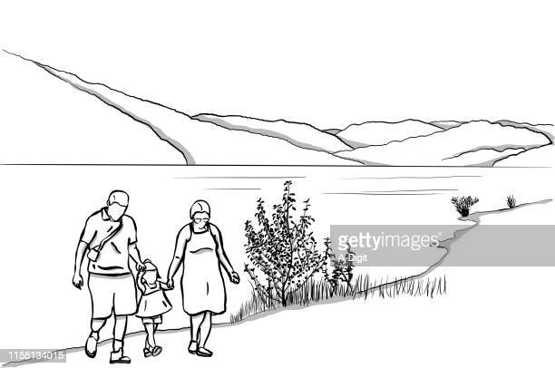 family at the lake - lakeshore stock illustrations