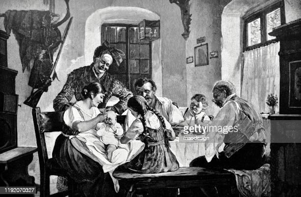 ilustrações, clipart, desenhos animados e ícones de família na tabela - 1887