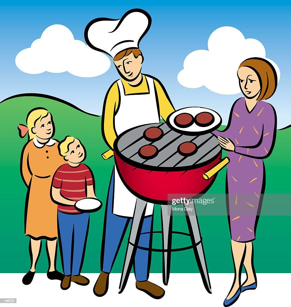 Family Barbecue : Ilustração de stock