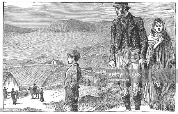 family being evicted from their home in rural ireland - 19th century - history stock illustrations