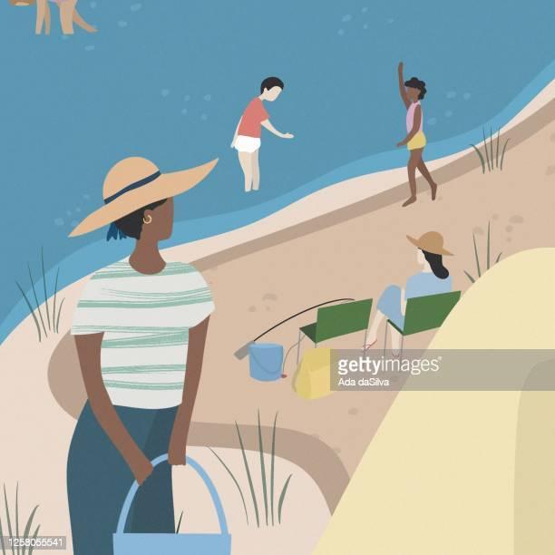 family camping illustration. new social distancing. - lakeshore stock illustrations