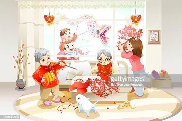 Family celebrating Chinese New Year