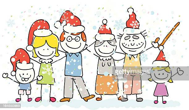 family celebrating christmas - kids hugging mom cartoon stock illustrations
