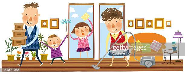family cleaning the house