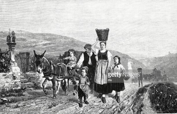 Family during grape harvest, at the Mosel river