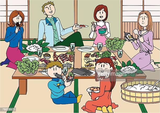 family eating a sushi rolls, illustrative technique - japanese mom stock illustrations, clip art, cartoons, & icons