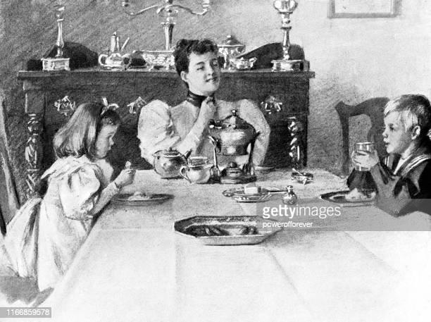 ilustraciones, imágenes clip art, dibujos animados e iconos de stock de cena de comida familiar en casa en nueva york, nueva york, estados unidos - siglo xix - mesa de comedor