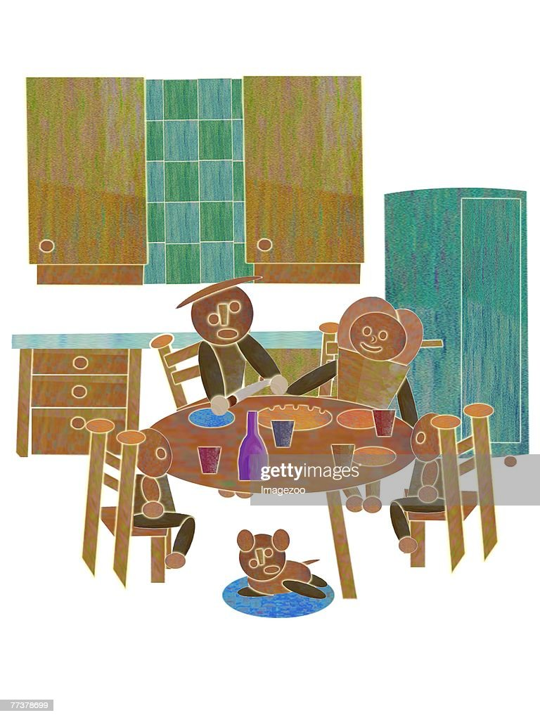 family eating dinner together : Illustration