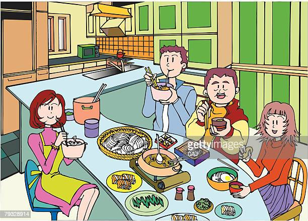 Family Having a Meal Together, Illustrative Technique
