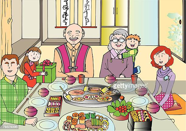 family having a meal together, three generation, illustrative technique - japanese mom stock illustrations, clip art, cartoons, & icons