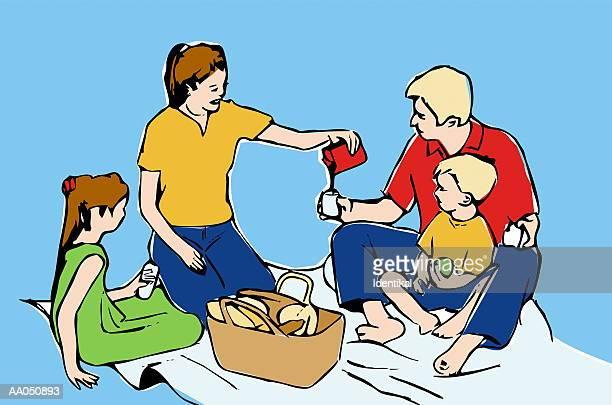 family having picnic, mother pouring drinks (digital illustration) - picnic blanket stock illustrations, clip art, cartoons, & icons