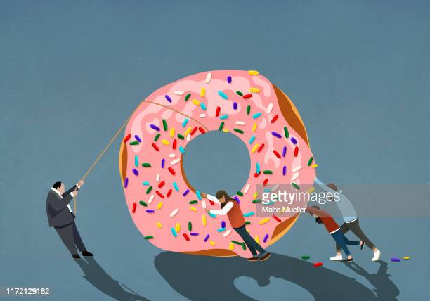 family helping businessman pulling large donut - food and drink stock illustrations