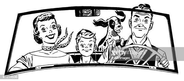 ilustraciones, imágenes clip art, dibujos animados e iconos de stock de family in car - conductor oficio