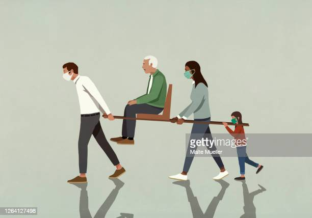 family in face masks carrying senior man on litter chair - safety stock illustrations