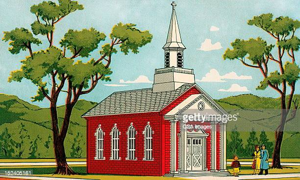 family in front of church - steeple stock illustrations, clip art, cartoons, & icons