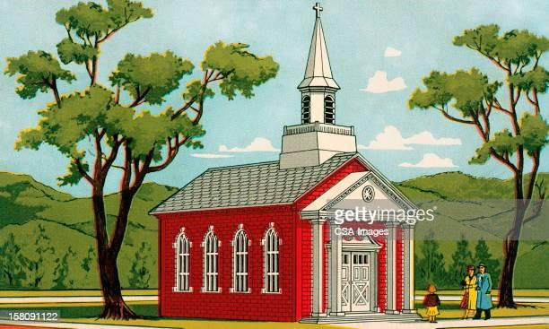 ilustrações, clipart, desenhos animados e ícones de família na frente da igreja - spire