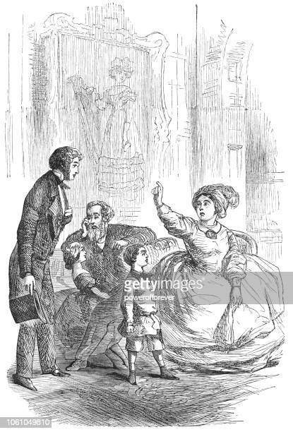 Family in Sitting Room - Victorian Style Fashion (1859)